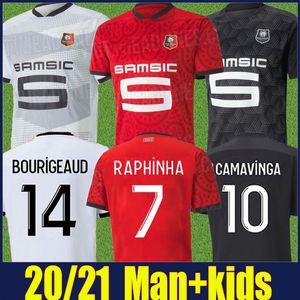 2020 2021 Rennes Soccer Jersey Men Kit Kids Kit Raphinha Camavinga Jersey Football Maillot de Stade Rennais Niang Nzonzi Bourigaud Shirts 20/21