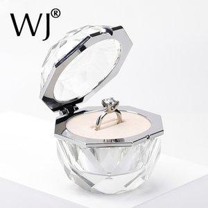 Deluxe-Kristall-Diamant-Ring Box Acryl Schmuck Geschenk Hochzeit Andenken-Antrag-Verpflichtung Bride Paar Ringe Anzeigen-Halter-Kasten