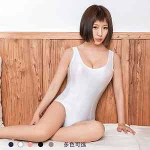 Sexy Shiny japanischen Kawaii Cosplay Badeanzug Zipper geöffnete Gabelungs Bodysuit School Mizugi Bade Body Suit Top Bademode Badeanzug aCQH #