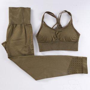BINAND Yoga sans couture Vêtements Leggings Sport Fitness Top Costume Set Gym Sport Soutien-gorge sport Femmes