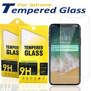 Protector de pantalla para iPhone 12 11 Pro X Max X XR 7 8 vidrio templado para el primer Samsung J7 J5 con caja de papel
