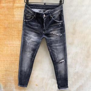 mens dsquared2 jeans firmati denim pantaloni strappati neri più magro versione rotto H4 Italia del marchio di biciclette moto Rock Revival