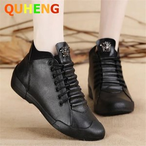 Women's Boots 2020 Autumn New Lace-Up Genuine Leather Female Shoes Casual Comfort Soft Bottom Flat Shoes Fashion Black Sneakers