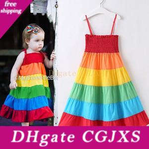 Kız bebekler Gökkuşağı Elbiseler Elastik Sütyen Etekler Suspender Renkli Patchwork Rainbow Beach Elbise Yaz Bebek Çocuk Pamuk Kıyafet 18m -7t