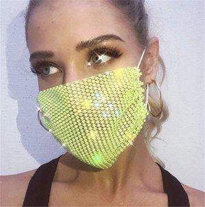 Kadınlar Kadın Mesh Parlayan Elmas Gökkuşağı Renkli earloop Takı Maskesi DWF879 NEW Tasarımcı Maskeler Chic Bling Rhinestone Yüz Maskeleri