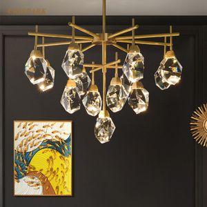 Moderno Cristal Branch iluminación de la lámpara LED redonda de latón Lustre Cristal Pendente Lámpara colgante de interior del accesorio ligero