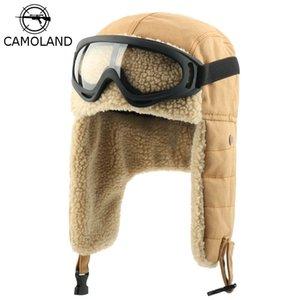 منفذها الشتاء earflap القبعات الروسية Ushanka مع الصياد الطيار نظارات رجل إمرأة قبعة فو البربرية الصوف الحراري الثلج قبعات T200819