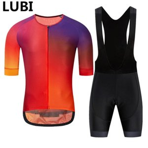 LUBI Men Cycling Set 5 Colors Summer Short Sleeve Jersey Wear High Density Sponge Pad MTB Clothes Kit Bike Clothing Road Suit