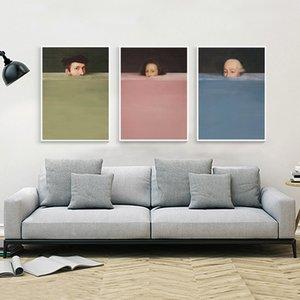 Nordic Abstrakt Handdraw Charakter Bunte Leinwand-Malerei Weinlese-Plakat-Druck-Dekor-Wand-Kunst-Bilder Für Wohnzimmer Schlafzimmer