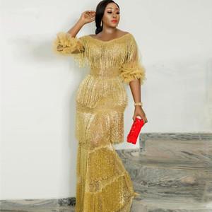 New Aso Ebi Gold Yellow Mermaid Evening Dress Black Girl Nigerian Women Half Sleeve Prom Gowns Bling Sequin Formal Dress with Tassel