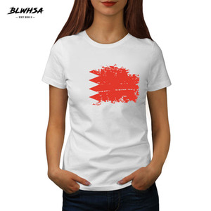 shirt da bandeira de Bahrain T Mulheres Moda manga curta Verão T-shirt Printing Bahrain Flag Mulheres Nacional Tops Roupa
