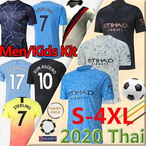 태국 STERLING DE BRUYNE KUN 아궤로 20 (21) 맨체스터 축구 저지 시티 2020 2021 축구 셔츠 남자 아이는 균일 한 camisetas 드 푸 웃 키트