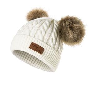 Мода Дети Twisted Knit Beanie Solid Colors с двойной Пом-Пом Шары Прекрасные Медведь Или Мыши дизайн Симпатичные Теплый детей Hat