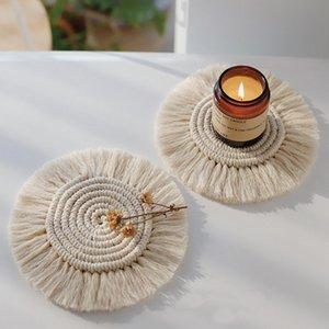 4pcs Norte da Europa Macrame Copa Pad Bohemia Toalha de Mesa Mat Tabela Pure Handmade algodão Braid antiderrapante Isolamento Mats para Cozinha
