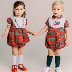 Newborn Romper For Girls Boy Clothes Long Sleeve Red Plaid Gown Boy Tops Pant Outfit Set Girl Princess Birthday Clothing 0927
