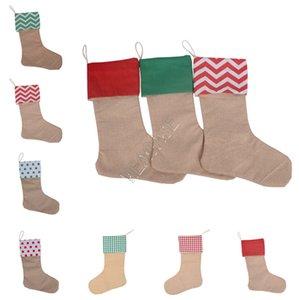 30*45cm Canvas Christmas Stocking Gift Bags Long Socks Christmas Decorations Xmas Stockings Large Plain Burlap Decorative Socks STOCK D92106