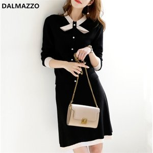 2020 Newest Autumn Women Bow O Neck Single-breasted Suits Knitted Jacket Tops + Package Hip Mini Skirt 2 pieces Sets Clothes X0923