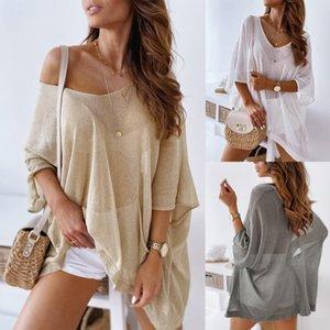 Vêtements d'été de couleur en vrac solide vêtements pull-over tout-match mince top Vêtements de Pull vêtements crème solaire ZC3737 UI4xb