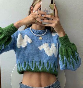 Mulher Suéteres Retro Vintage Azul Céu Branco Nuvem O Pescoço Longo Buff Manga Jumper Pullovers Contrast Color Solto Knitwear