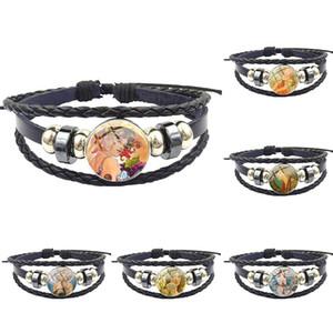 Mucha For Women Gift Fashion Glass Stone Surface Black Leather Bracelet Bangle Women Statement Jewelry