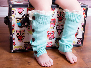 Baby Girls Warm Knitted Leg Sleeves Buttons Lace Gaiters Loose Wool Leg Guard Boot Cuffs Socks Knit Legs Warm Booties Sleeve for Child E9103