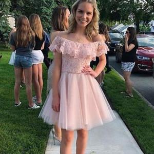 Elegante curto rosa Vestidos Homecoming com Lace Tulle Alças simples do partido Custom Made veste vestido