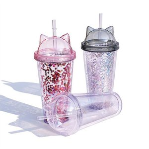 Juice Milkshake Clear Cat Ear Flashing Double Layer Cup Kids Baby Cartoon Cute Creative Sequins Plastic Tumbler with Straws free shipping