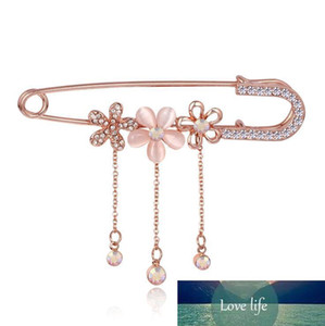 new Wholesale- Hijab Pins Rose Gold plated Safety Pin Brooch Fashion Luxury Rhinestone Men Brooches For Suit Scarves Corsage Sweater Collar