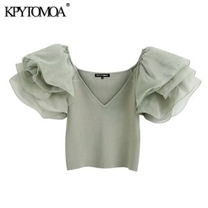KPYTOMOA Women Fashion With Organza Knitted Cropped Blouses Vintage See Through Sleeve Stretch Slim Female Shirts Chic Tops 200923