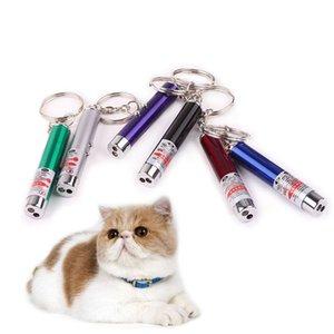 Caneta ponteiro laser vermelho Mini Cat LED engraçado Luz Pet Cat Brinquedos Keychain 2 In1 Tease Cats Pen EWD862