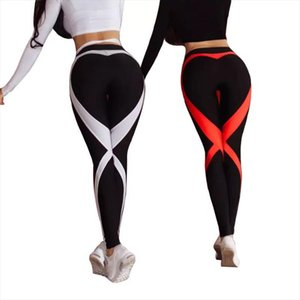 CHRLEISURE Heart Stitching Leggings For Women Mesh Breathable Womens Sports Pants High Waistfitness Legging Drop Shipping