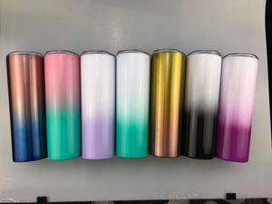 Fedex 20 once ombre magro bicchiere sfumatura di colore a doppia parete in acciaio inox coibentata bicchiere con paglia e coperchio