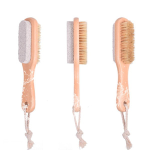 2 in 1 cleaning brushes Natural Body or Foot Exfoliating Brush Double Side with Nature Pumice Stone Soft Bristle Brush EWB3233