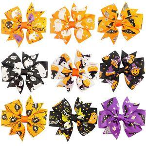 Halloween bambini artigli dei capelli 3 pollici zucca stampato Barrettes archi del nastro del mulino a vento Forcina per bambini Copricapi ragazze Festival Accessori per capelli 060.819