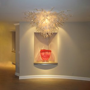 Pretty Ceiling Chandeliers Hand Blown Light Fixtures Glass Chandelier Lighting White 36 Inches Wide 20 Inches High LED living room furniture