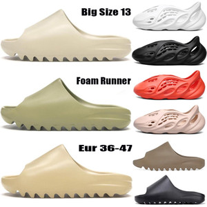 Tamaño grande 13 espuma corredor sandalia zapatilla triple negro blanco resina desierto arena kanye west hombres mujeres moda diapositivas sandalias zapatos EUR36-47