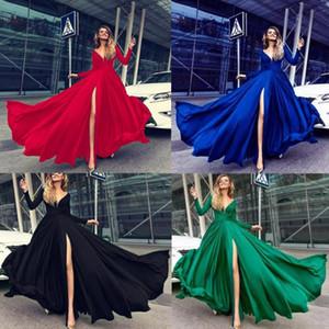 Straßen-Art-Frauen-Kleider Mode Langarm V-Ausschnitt Solid Color-Partei-Kleid-Herbst-Frauen Designer-Kleider