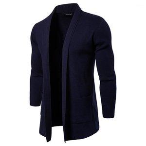 Mens Open Стич Solid Stand Collar с длинным рукавом Верхняя одежда Повседневная пальто Мода Knit С Карманный Мужчины Куртки весна осень