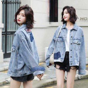 Women's Jackets 2021 Large Size Clothing Embroidery Long Sleeve Denim Coat Chaqueta Mujer Bomber Jeans Jacket Women Arrivals