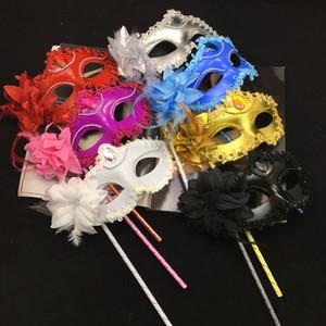 Halloween Hand Mask Venetian halbe Gesichts-Blumen-Masken-Maskerade-Partei Maske Sexy Weihnachtstanz Hochzeit Kostüm Maske BH3966 TQQ