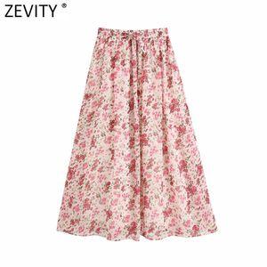 Zevity Yeni Kadın moda çiçek baskı şifon midi etek faldas mujer bayanlar elastik bel yay bağladı vestido gündelik etekler QUN663