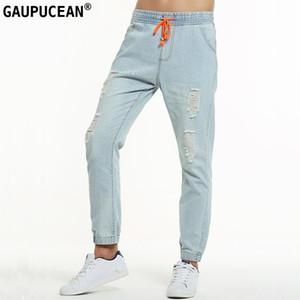 Gaupucean Cotton Herren Jeans Qualität in voller Länge Art und Weise Löcher Fest Hellblau Elastisch Taille Lange Harem Beiläufiger Mann-Denim-Hosen