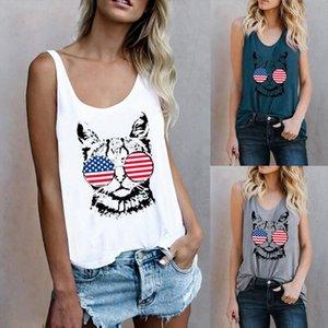 Summer Womens O Neck 2 Cat Printed Sleeveless T Shirt Tunic Female Tanks Tees Short Sleeve Casual Cotton Girls Tank Tops