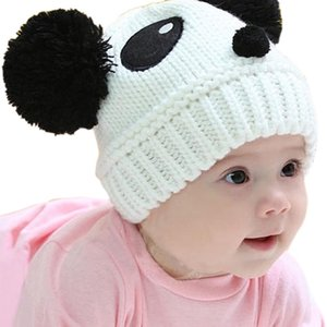Swokii Skullies Beanies Güzel Hayvan Panda Bebek Katı Renk Örgü Tığ Şapka Çocuklar Sıcak Unisex Beanie Caps Kış Şapka tutun