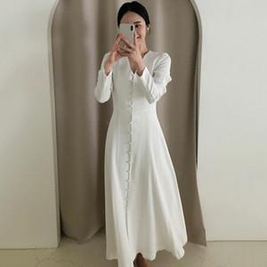 Hot Sale Gaganightlegant White Womenaxi Dress Long Sleeve V Neck Single Breasted Fashion Office Lady Bodycon Dresses Slim Spring