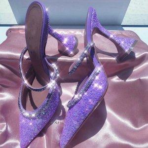 Европейские и американские популярные 2020 Летний Новый Ослепительная Розовый Кристалл Sequined золотников Каблуки Остроконечные Высокие каблуки