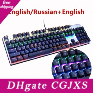 Metoo Gaming Mechanical Keyboard 87  104 Anti -Ghosting Luminous Blue Red Black Switch Backlit Led Wired Keyboard Russian Sticker T190627