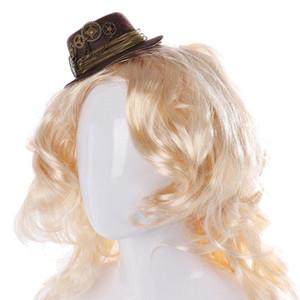 Kadınlar Hediye Şapkalar Mini Top Hat Punk Stil Müzik Festivali Lolita Dişli Zincir Parti Saç Goth Dekor Vintage Düğün Casual Klip