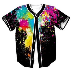 3D Baseball Shirt Men 2020 Splash Ink Print Men T Shirts Short Sleeve T-shirt Casual Baseball Jersey Harajuku Hip Hop Tops Tee 0924