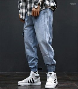 Fashion Long Mens Cargo Pants With Pockets Hiphop Loose Light Blue Mens Jeans